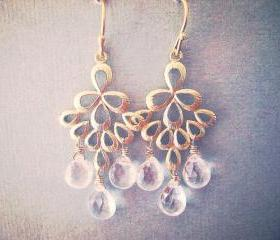 Gold Chandelier Earrings, Rock Crystal Quartz