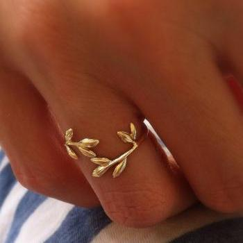 Gold Branch Ring, Adjustable